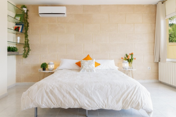 Open bedroom in suite